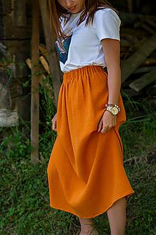 Sukne - Sukňa z mušelínu Oranžová - 13496623_