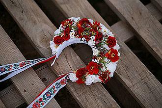 Ozdoby do vlasov - Folklórna svadobná kvetinová parta - 13499778_