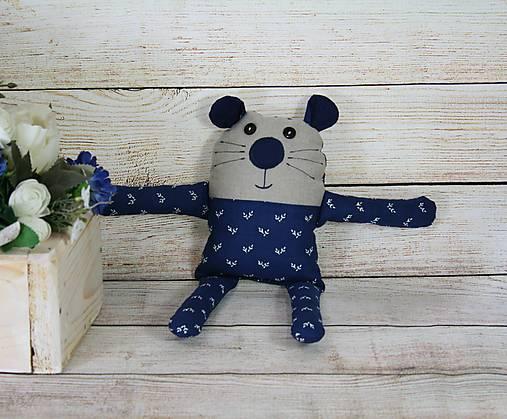 Modrotlačová hračka MYŠKA s hrkálkou