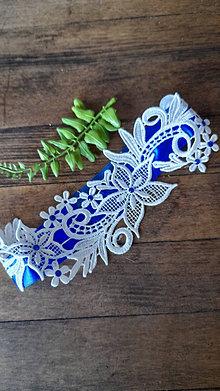 Bielizeň/Plavky - Svadobný podväzok Kráľovská modrá - 13498730_
