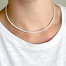 Náhrdelníky - Mini Freshwater Pearls Necklace AG925 / Náhrdelník z drobných oválnych sladkovodných perál - 13500659_