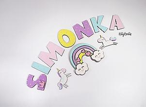 Detské doplnky - dievčenské písmenká a dekory vzor Simonka - 13500137_