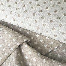Textil - OBOJSTRANNÝ predpraný mäkčený ľan Bodky, šírka 195 cm - 13501596_