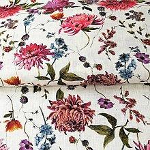 Textil - 100 % predpraný mäkčený ľan Chryzantémy, šírka 150 cm - 13501599_
