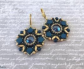 Náušnice - Luxusné modro-zlaté Swarovski náušnice - 13502197_