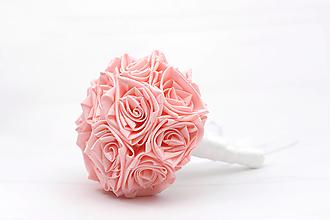 Kytice pre nevestu - Saténová kytica svadobná ružová ruže - 13501077_