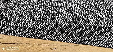 Textil - Kostýmovka -Kvety biele na čiernom- cena za 10 cm - 13502867_