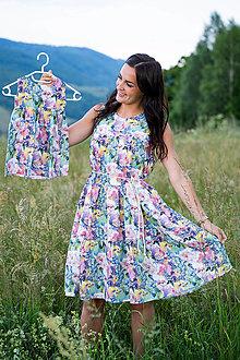 Šaty - Ľanové MIDI šaty MAMA a DCÉRA - farebná záhrada - 13504709_