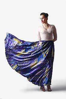 Sukne - Sukňa saténová dlhá modrá so vzorom - 13507092_