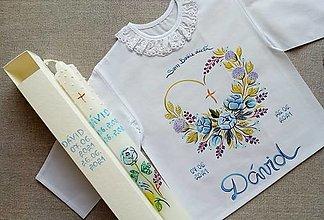 Detské oblečenie - Set do krstu modrý nebeský - 13507217_