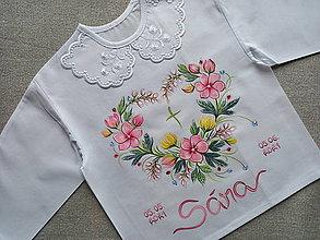 Detské oblečenie - Ružová perličková košieľka na krst - 13507574_