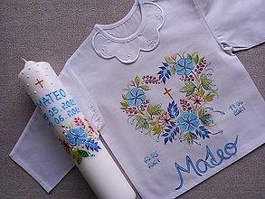 Detské oblečenie - Set do krstu modrý s perličkami - 13507585_