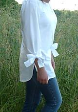 Košele - Košeľa biela a mašľové manžety - 13505803_