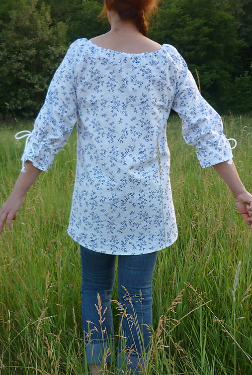 Košeľa jemné kytičky modré