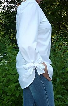 Košele - Košeľa biela a mašľové manžety - 13505802_