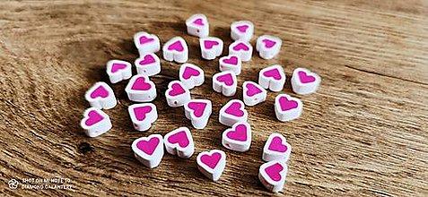 Korálky - Srdiečka ružové - 10 mm - 13507742_