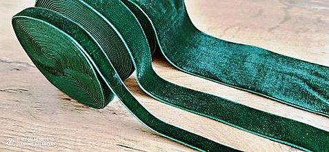 Galantéria - Ozdobná stuha zamatová  (20 mm - Zelená) - 13507753_