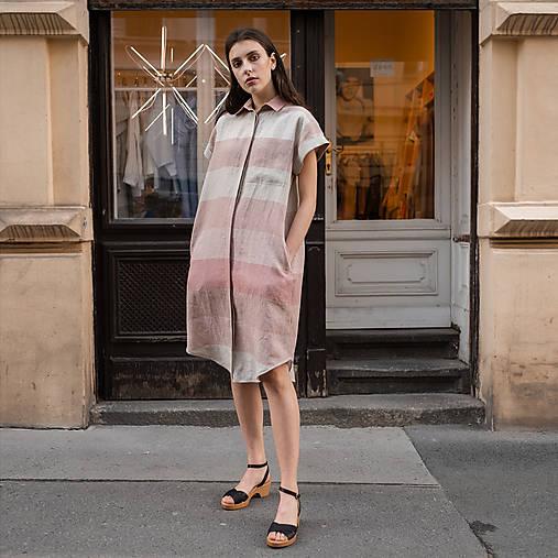 Šaty - ľanové šaty WORK ružový pruh - 13506703_