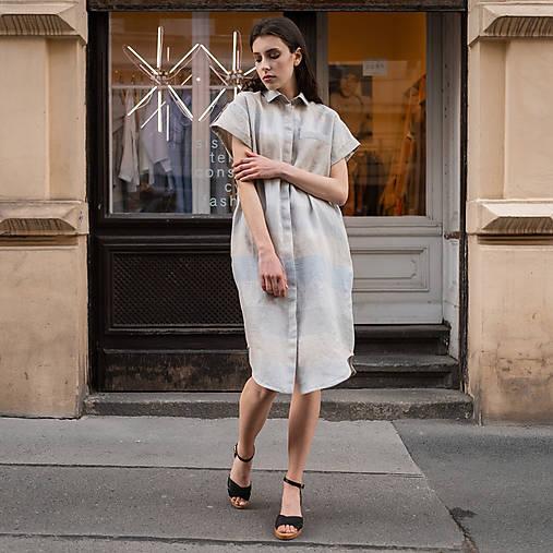 Šaty - ľanové šaty WORK modrý pruh - 13506724_