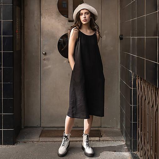 Šaty - ľanové šaty BLACK - 13506759_