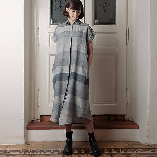 Šaty - ľanové šaty WORK LONG - 13506786_