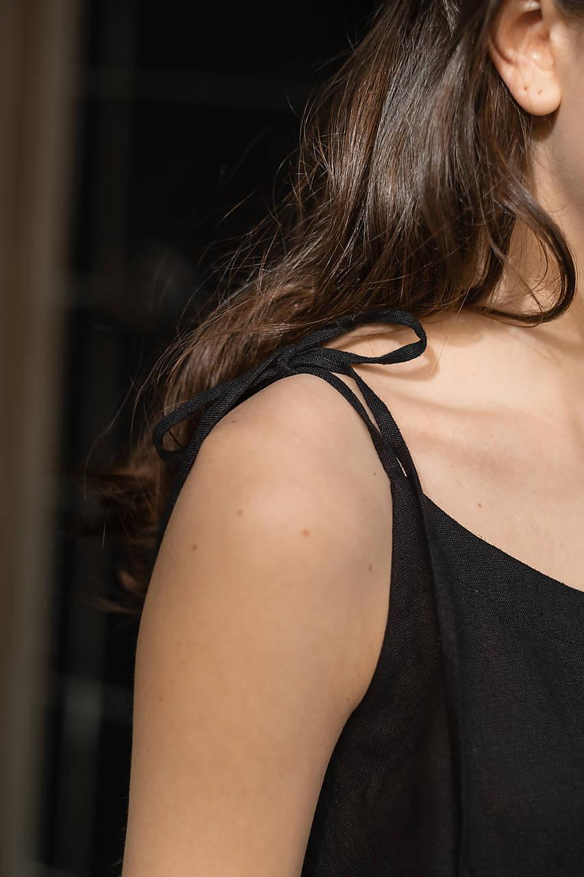 ľanové šaty BLACK