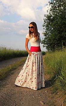 """Sukne - Maxi """"bielo-červená"""" skladaná SKLADOM - 13506547_"""
