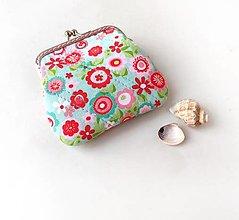 Peňaženky - Peňaženka mini Ružovo-tyrkysové kvietky - 13507081_