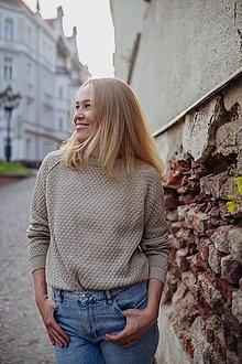 Svetre/Pulóvre - Obojstranny sveter MADEIRA sivobežovy - 13505699_
