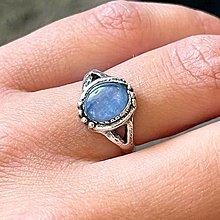 Prstene - Antique Silver Kyanite Ring / Vintage prsteň s kyanitom - 13508397_