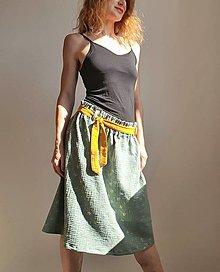 """Sukne - Dámska sukňa """"Minty"""" so zlatou potlačom a žltým opaskom - 13508762_"""