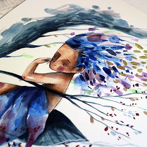 Začína fúkať/ originál akvarel