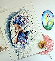 Kresby - Začína fúkať/ originál akvarel - 13509367_