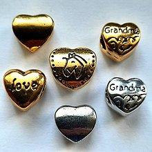 Korálky - Kovové srdce-1ks - 13509308_