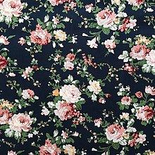 Textil - kytice na čiernej, 100 % bavlna Holandsko, šírka 150 cm - 13508369_