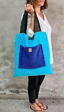 Veľké tašky - VeryTerry BEACH froté s koženými remienkami - 13509602_