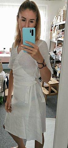Šaty - Zavinovacie ľanové šaty - Húska II - 13509927_
