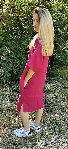 Šaty - Oversize ľanové šaty - Dodo (višňová) - 13509943_