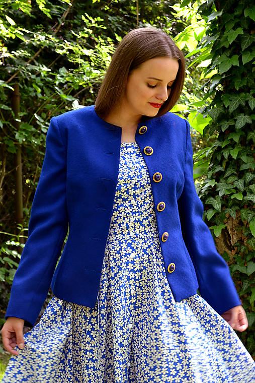 Vlnené upcyklované sako v kráľovsky modrej