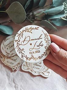 Darčeky pre svadobčanov - Magnetky pre svadobných hostí venček simple - 13510657_