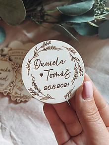 Darčeky pre svadobčanov - Magnetky pre svadobných hostí venček - 13510668_