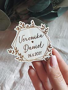 Darčeky pre svadobčanov - Magnetky pre svadobných hostí venček greenery - 13510670_