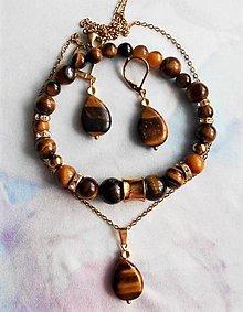 Sady šperkov - Tigrie oko- variácie - 13511803_