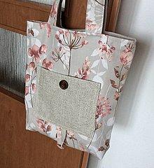 Nákupné tašky - taška skladacia tehlové kvety - 13511285_