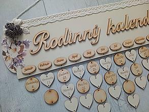 Dekorácie - Kalendár rodina - drevený rodinný kalendár - 13512026_