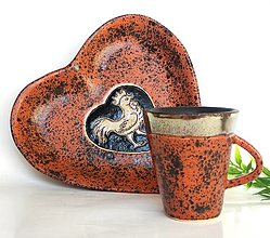 Nádoby - Keramická mištička srdce so zlatým kohútikom - 13510586_