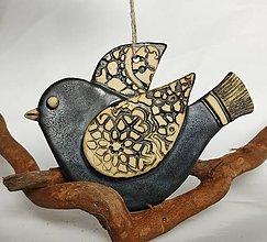Dekorácie - Keramický vtáčik na zavesenie - 13510655_