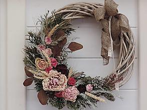 Dekorácie - Veľký veniec zo sušených kvetov - 13514217_