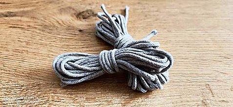 Galantéria - Dekoračný špagát - 4 mm - balenie 4,6 metra (Svetlo šedý) - 13512900_