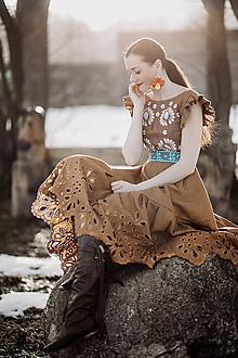 Šaty - hnedé ľanové šaty Očovianka - 13512653_